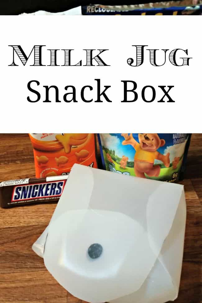 Reuse an old milk jug and make it into a snack box.