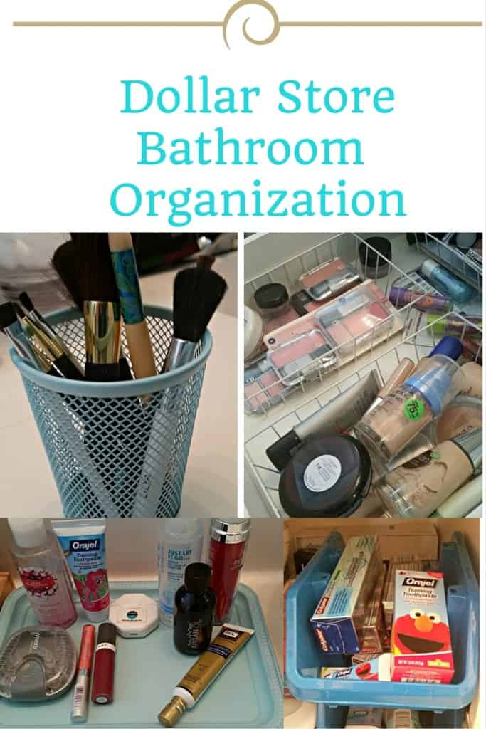 Affordable and cute ways to organize your bathroom with dollar store finds.