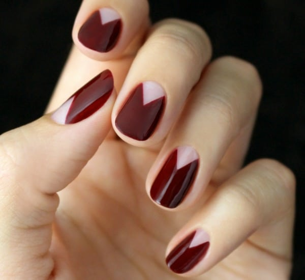 20 gorgeous fall nail ideas this burgundy chevron half moon manicure is actually pretty easy to do yourself and it is gorgeous color used ncla nail lacquer in rodeo drive royalty solutioingenieria Choice Image
