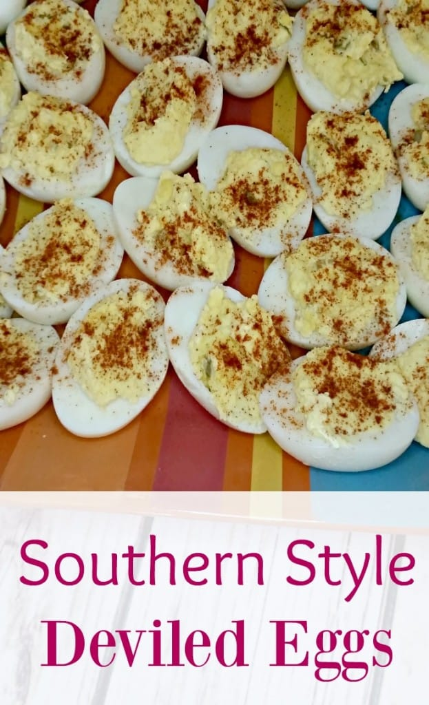 Add this Southern style deviled egg recipe for a classic Easter side dish. This is the best easy recipe that is made with pickles, so tasty!