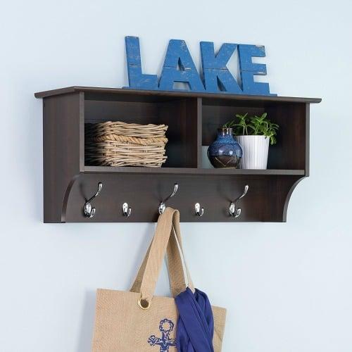 hanging wall shelf with hooks