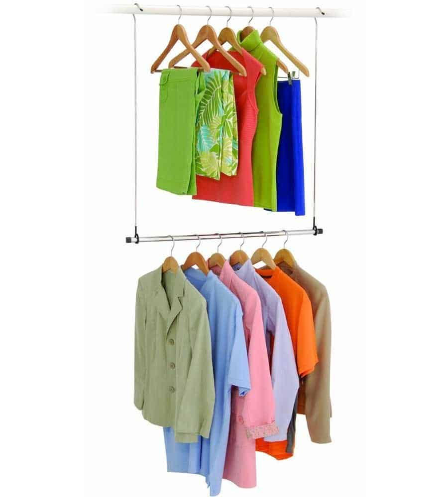 Genial To Double Your Hanging Space, Get A Closet Doubler Rod. Hang Your Tops On  The Highest Rod And Your Bottoms And Skirts On The Lower Rod.