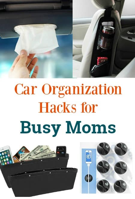 Car organization hacks for busy moms. A great list of ideas and products to give you more storage and control your kid's trash. Perfect for road trips or everyday life.