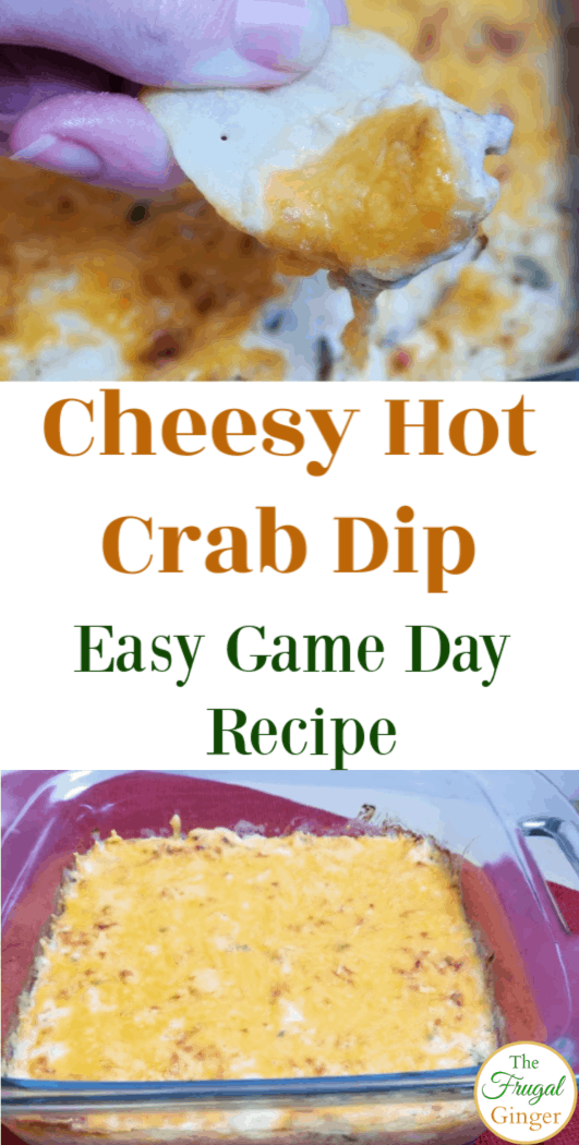 Make this easy baked Cheesy Hot Crab Dip recipe during football season. Simple game day appetizer that everyone will love!