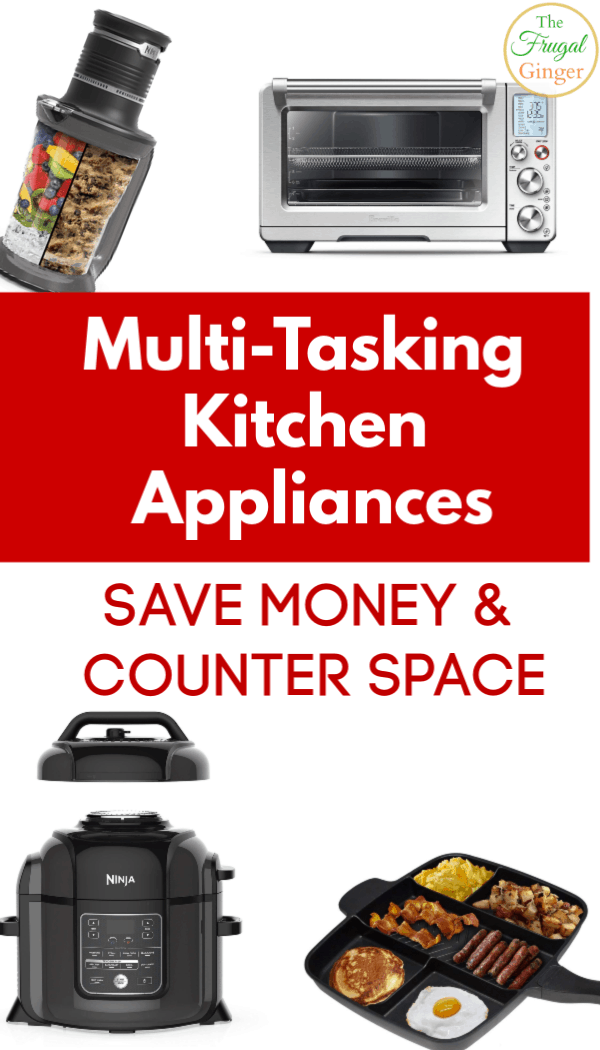 These multi-tasking kitchen appliances are must haves for small spaces. Get products that do double duty to save money and counter space. Awesome for people on a budget.