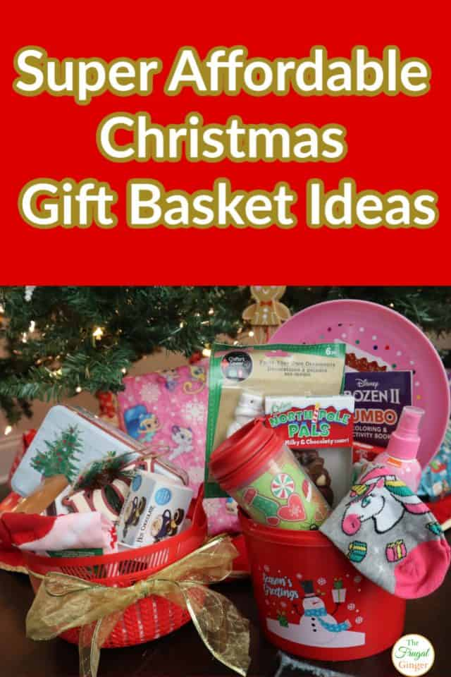 These super cheap Christmas gift basket ideas are perfect for both adults and kids. I found everything at The Dollar Tree to help stay on a holiday budget. Cute and affordable diy gift baskets for everyone on your list